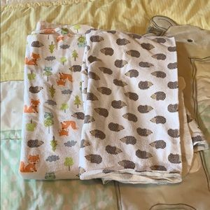 Two piece baby forest swaddle set